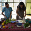 Luz Calvo and Catrióna Rueda Esquibel preparing food for our guests at Hearts, Minds and Futures